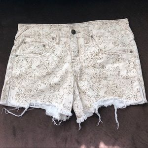 FREE PEOPLE Patterned Distressed Denim Shorts
